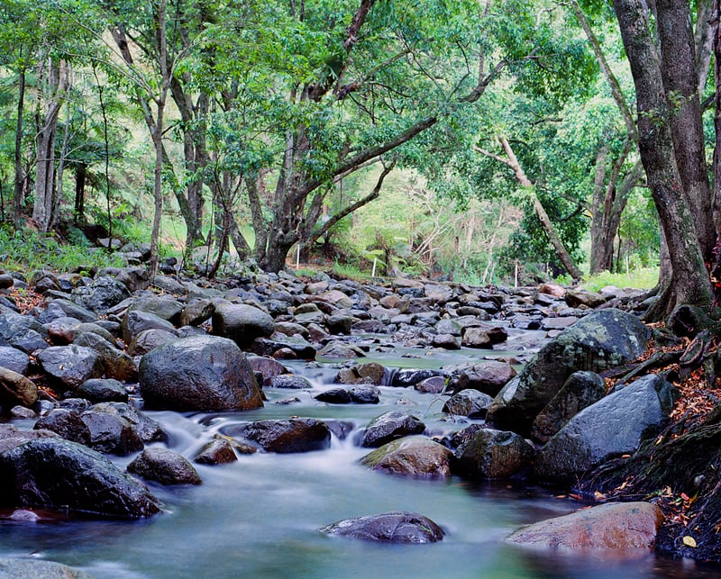 A long exposure photo taken of a creek at Mount Warning on Film
