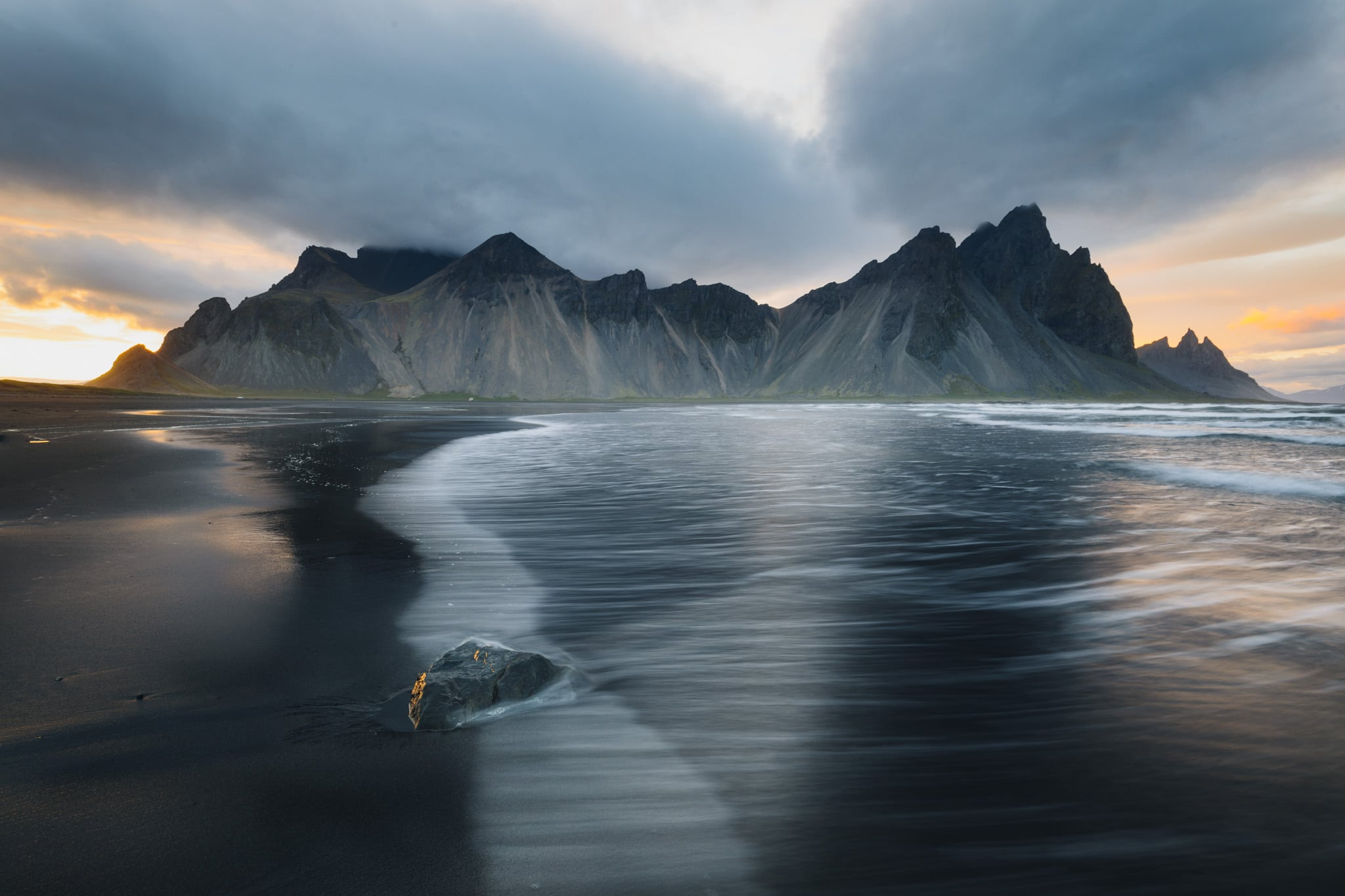 Sunset at Vestrahorn in Iceland
