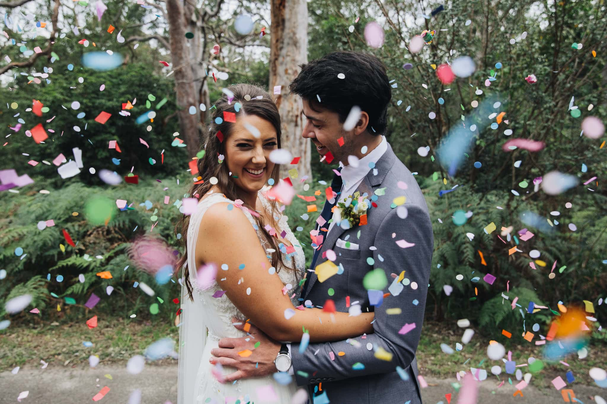 Confetti Photo of Caitlin and James showing their wedding feature
