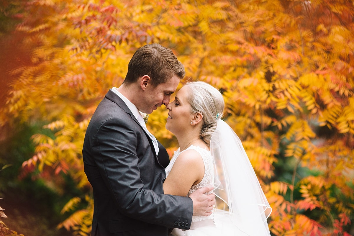 Bride and Groom at Centennial Vineyards Wedding in Autumn