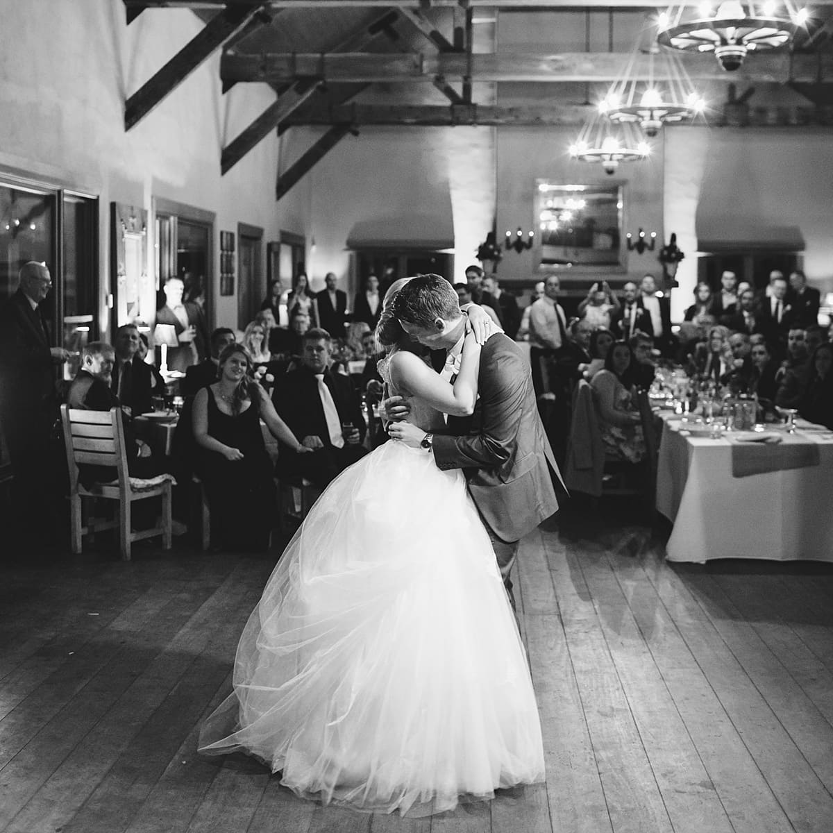 First dance photo of the bride and groom at Centennial Vineyards