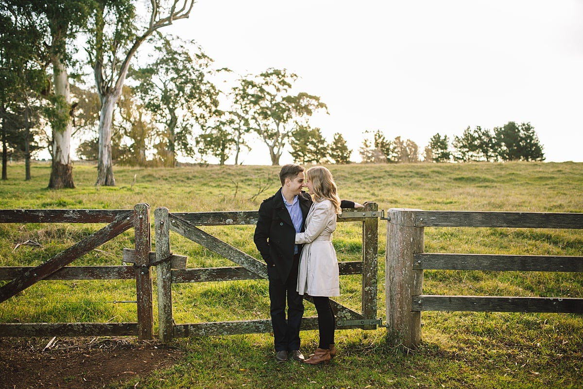 Engaged couple at Centennial Vineyards