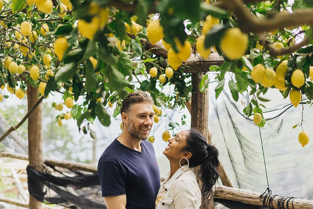 Amalfi Coast Engagement with Jordan & Cass under a lemon tree