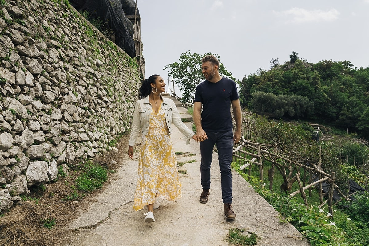 Jordan & Cass walking along the valley during their Amalfi Coast Engagement