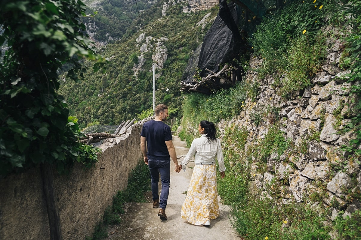 Walking the track down to the valley on this Amalfi Coast Engagement