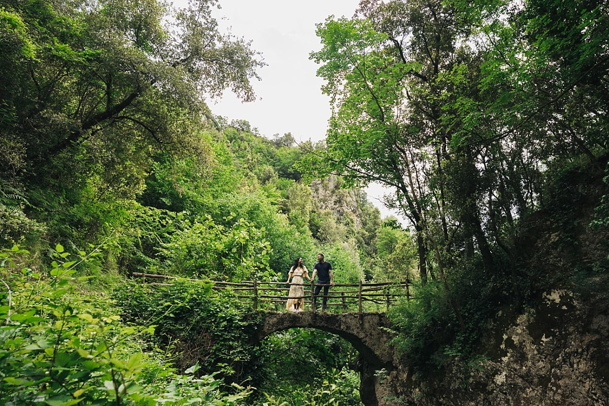 Jordan & Cass on an old bridge in the Valle Delle Ferriere