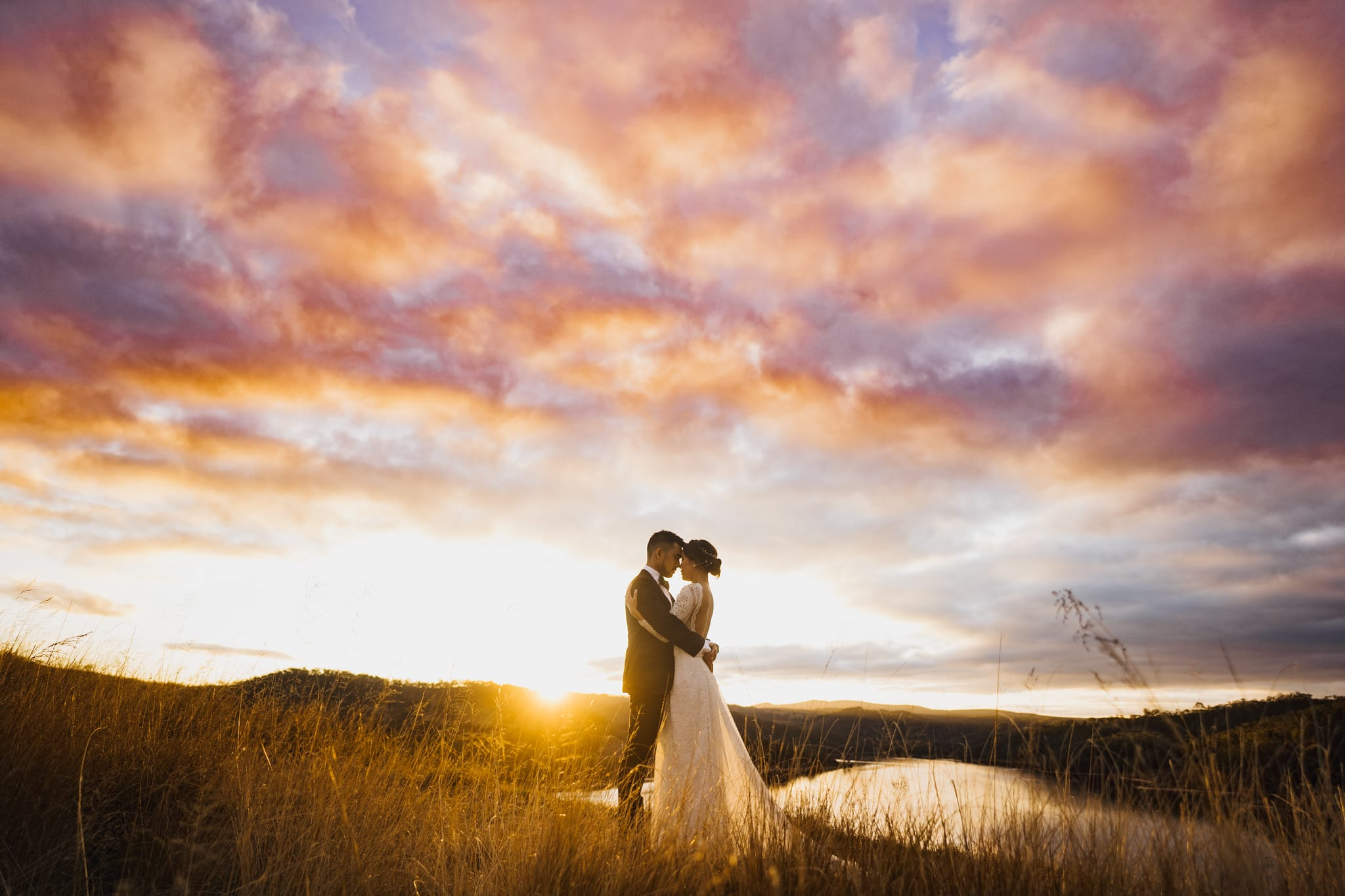 Bride and Groom at sunset at a beautiful Blue Mountains Wedding Venue called Seclusions