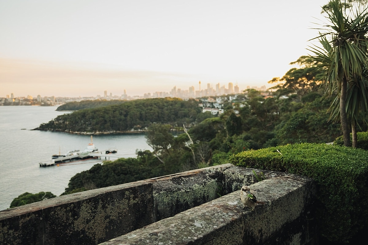 The view of Sydney Harbour at sunset from Gunners Barracks