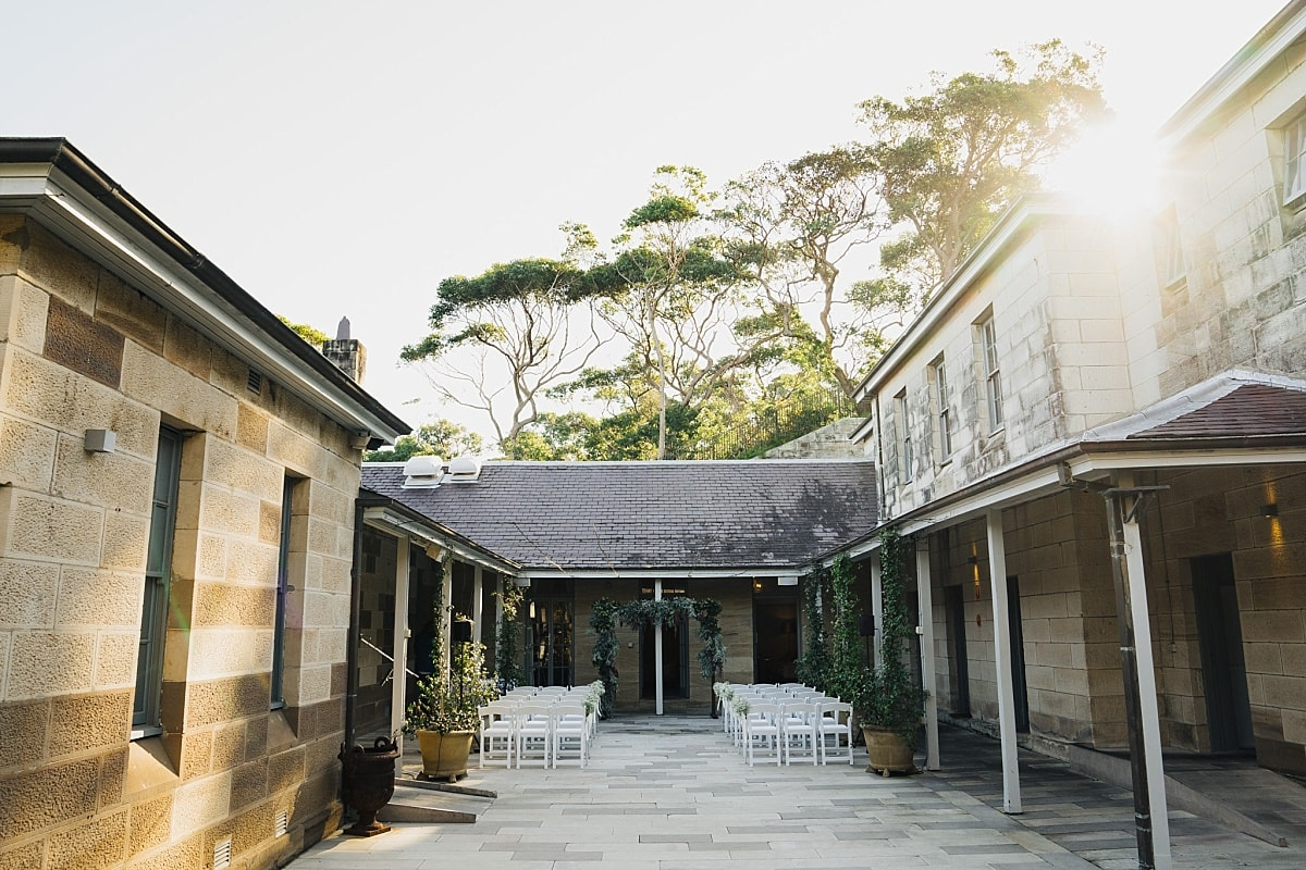 The sandstone courtyard at Gunners Barracks