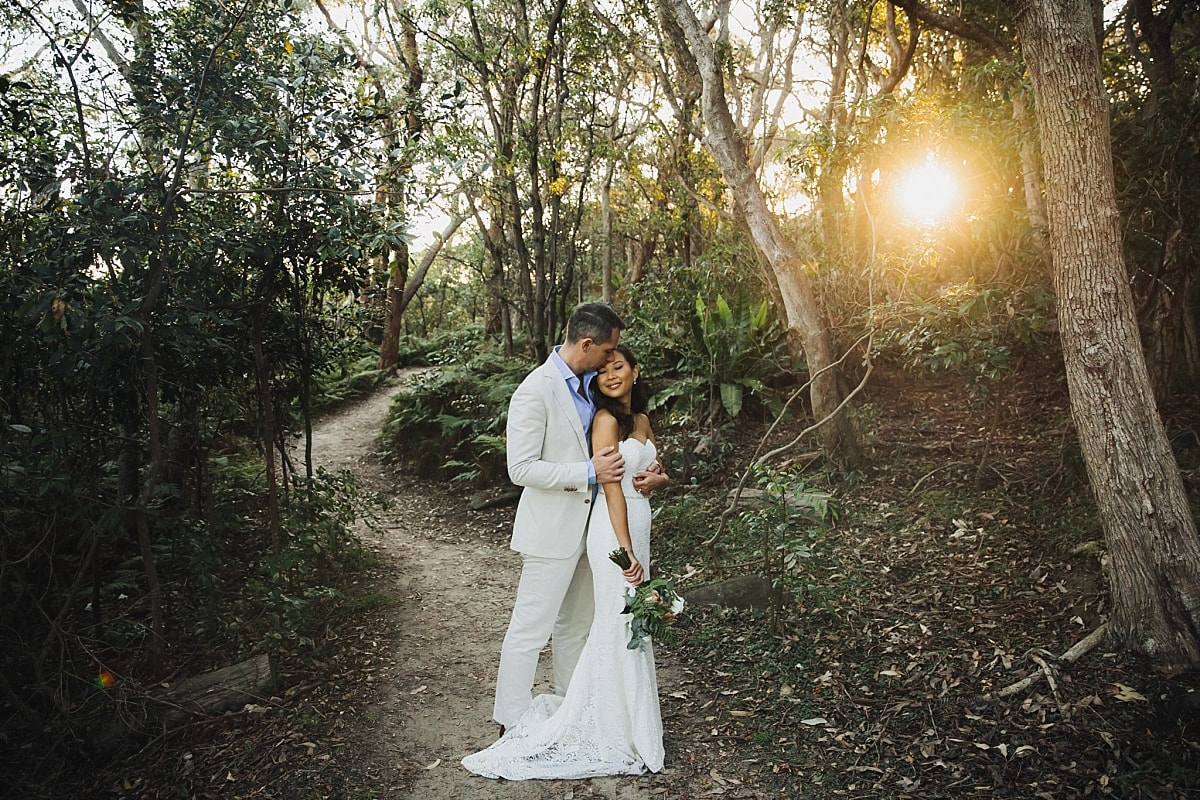 Bride and Groom in bushland near Gunners Barracks