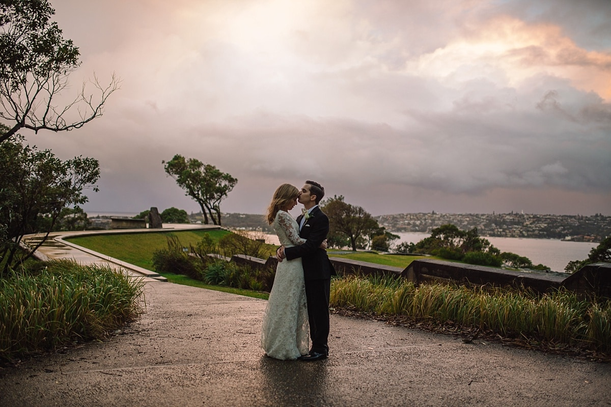 A bridal portrait during at storm at Gunners Barracks