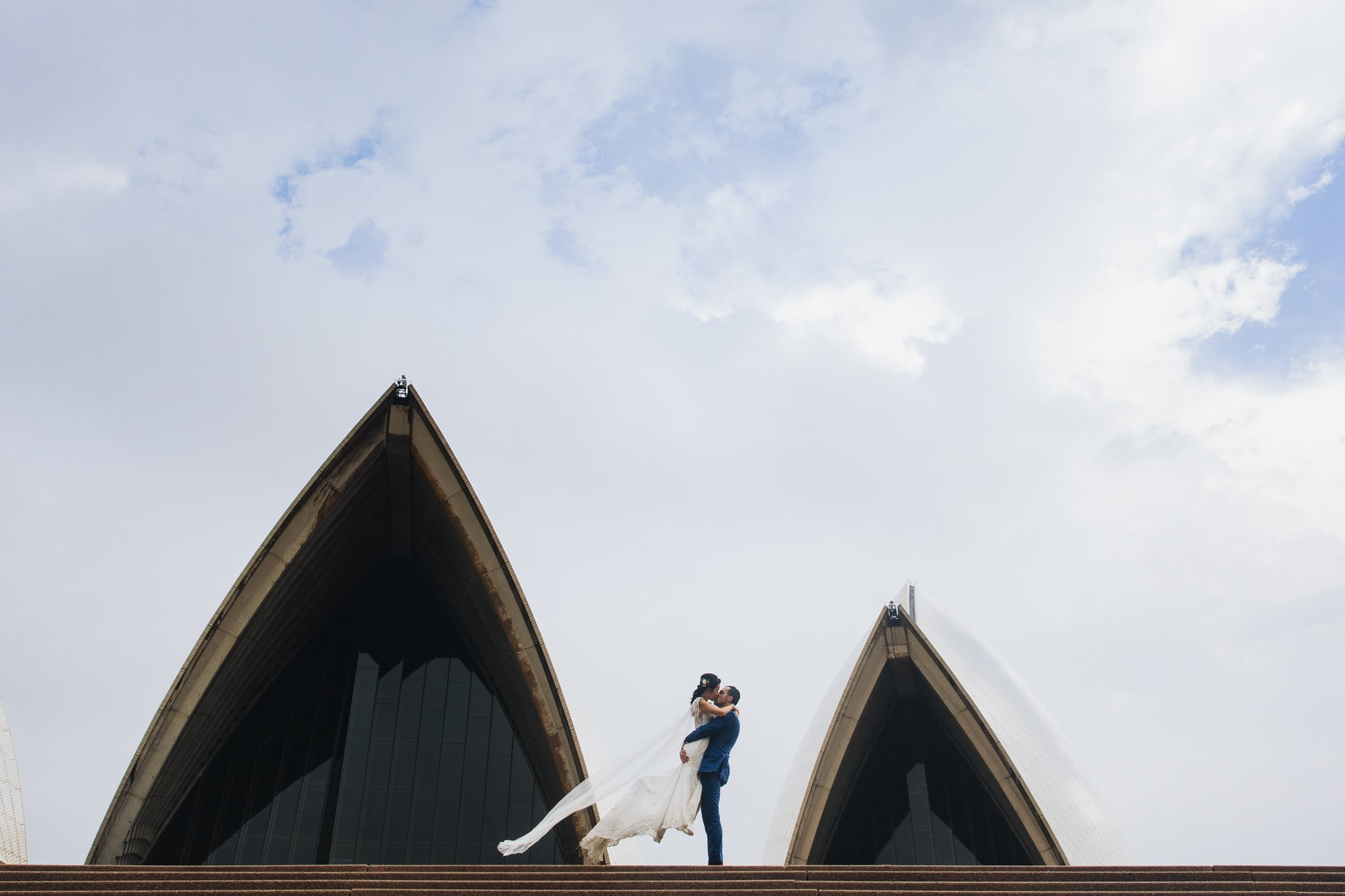 Bride and Groom at the Sydney Opera House on their wedding day