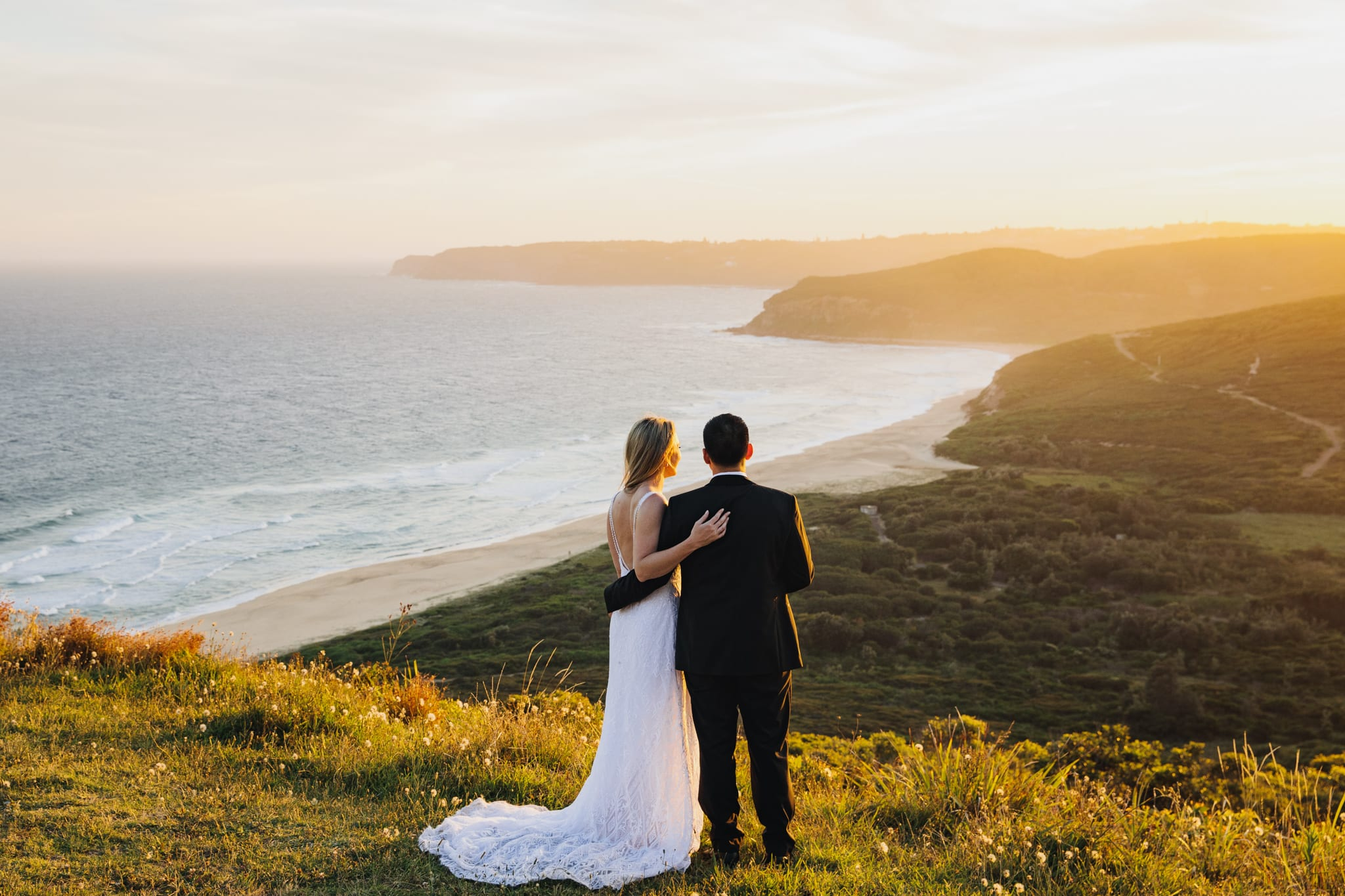 Bride and groom at sunset in Newcastle