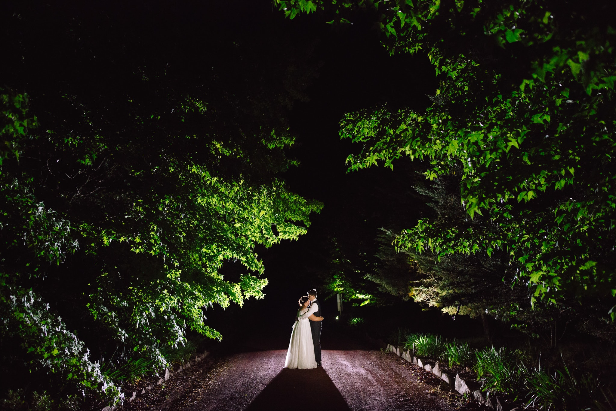 Bride and Groom at night at their Country Queensland wedding in Stanthorpe