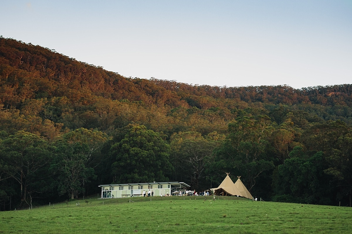 Sunset light on the Kangaroo Valley Wedding Venue named Bundaleer