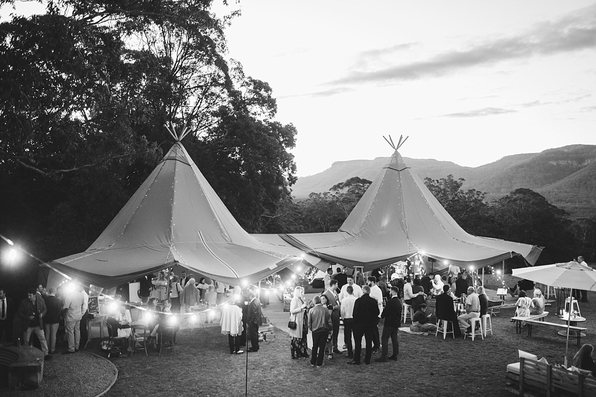 Tipi reception setup at Bundaleer