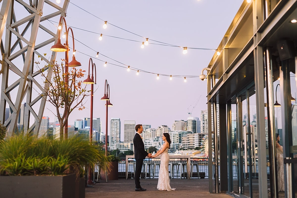 Bride and Groom at Sunset at Pier One