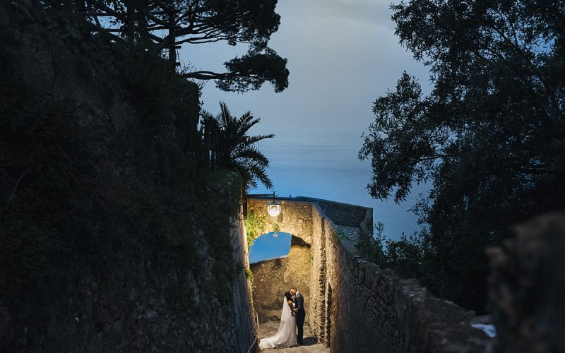 Bride and Groom on their wedding day at their Amalfi Coast Wedding